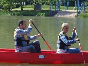 Kanufahrt Andrea Müller und Volker Kugel auf der Donau beim grünzeug-Dreh, Gartenschau Sigmaringen Juni 2013
