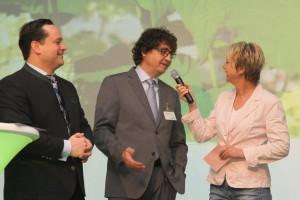 Moderation Andrea Müller beim Verband für Garten-und Landschaftsbau Baden-Württemberg März 2013 mit Minister Alexander Bonde (li) und Ausbildungsleiter Martin Joos.