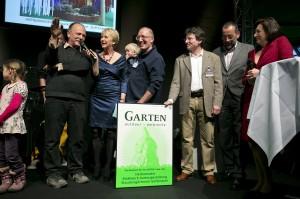 Moderation Andrea Müller Preisverleihung Gartenpreise 2013 auf der Gartenmesse outdoor-ambiente, April 2013