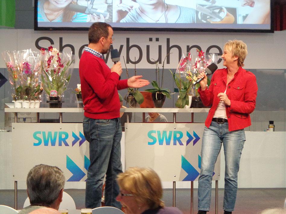 grünzeug-Präsentation Andrea Müller und Volker Kugel auf der SWR-Bühne bei der CMT im Stuttgarter Messegelände, Januar 2014