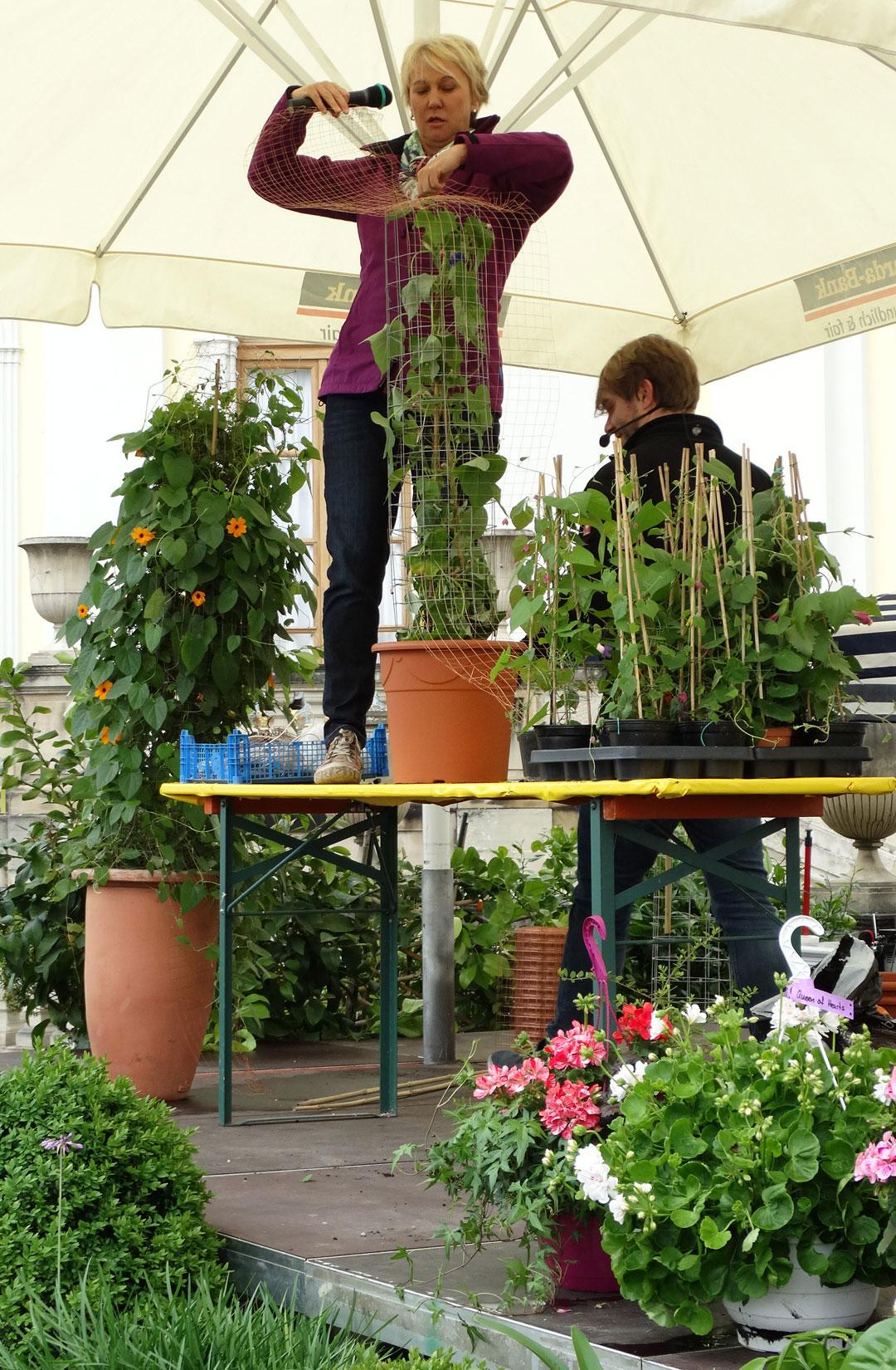 Andrea Mueller Voller Einsatz bei der Moderation der ´Barocken Gartentage´ im Blühenden Barock Ludwigsburg im Mai 2014