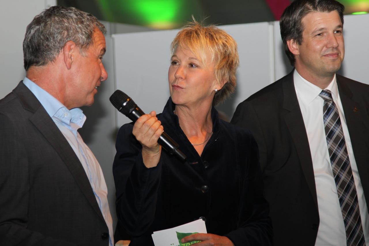 Andrea Mueller Moderation von ´Grün exclusiv´ mit Reiner Bierig und Guido von Vacano, Gartenmesse Stuttgart im April 2014